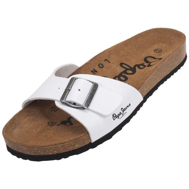 801221e9d0a3 Pepe Jeans - Claquettes mules Bio man white matt Blanc 21182 - pas cher  Achat   Vente Sandales et tongs homme - RueDuCommerce
