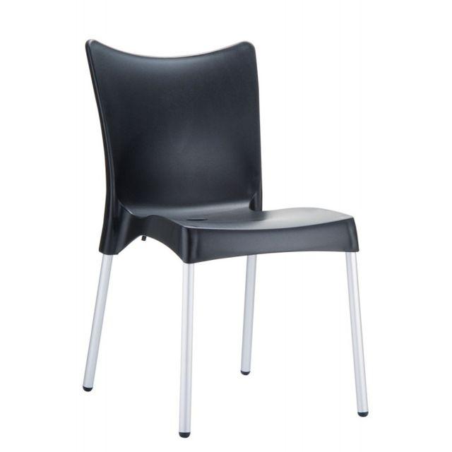 decoshop26 chaise de jardin ou cuisine en plastique noir mdj10167 pas cher achat vente. Black Bedroom Furniture Sets. Home Design Ideas