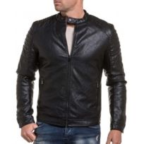 BLZ Jeans - Blouson motard noir zippé simili cuir