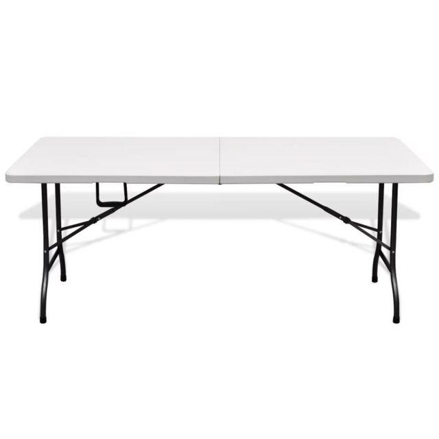 Tables D'extérieur De En Hdpe Table 180 Superbe Jardin Blanche Pliable Cm N8OX0Pwnk