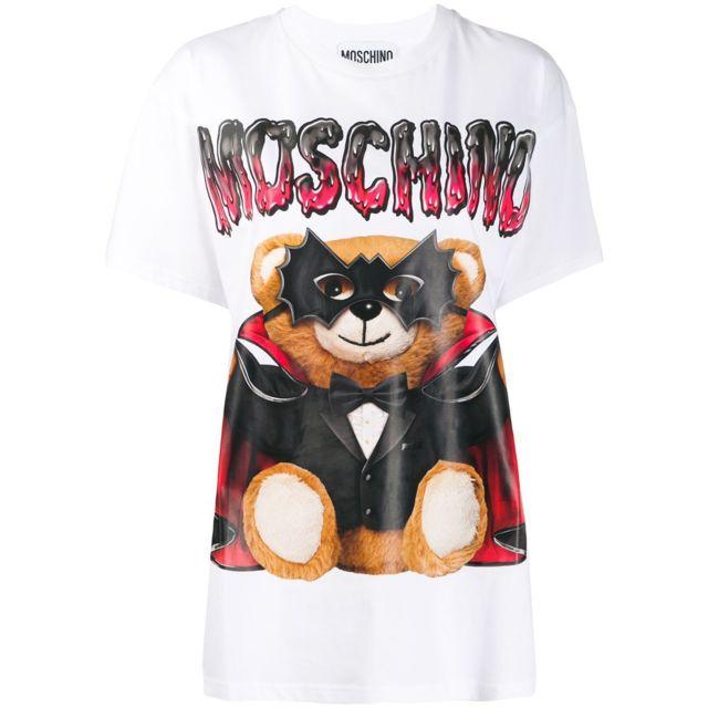 MOSCHINO Femme V071105401001 Blanc Coton T-shirt