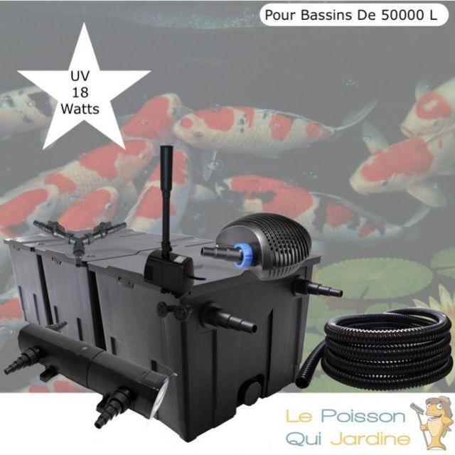 Le Poisson Qui Jardine Kit Filtration Complet, Uv 18W + Fontaine Pour Bassins De 50000 L
