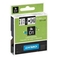 Dymo - Ruban étiqueteuse D1 fond blanc écriture noire 12 mm x 7 m