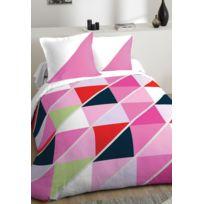 Parure de lit couleur rose 100% coton 240x220 cm