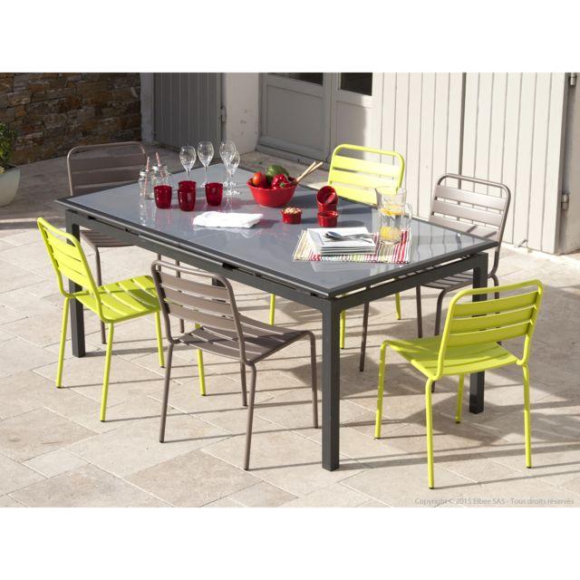 Squareline - Salon de jardin table extensible avec 6 chaises ...