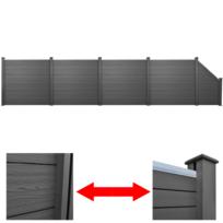 Vidaxl - 4 Clôtures carrés + 1 clôture oblique gris Wpc