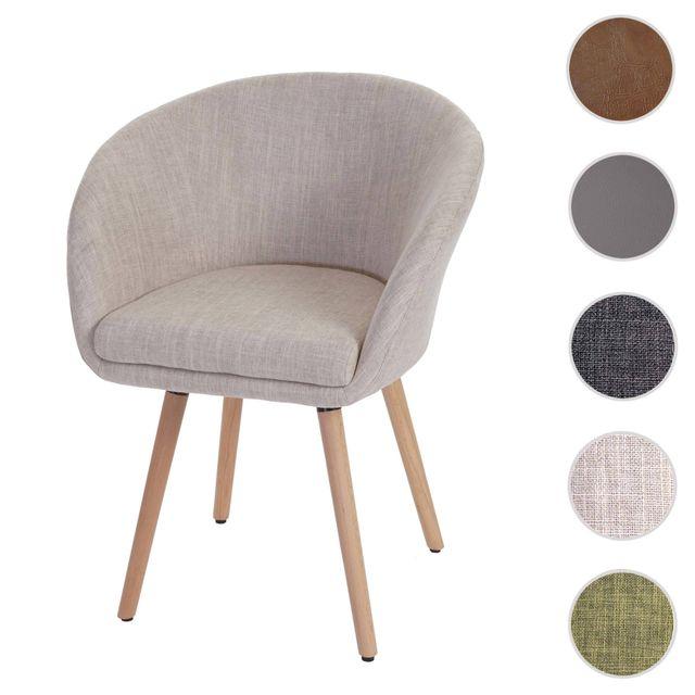 Mendler Chaise de salle à manger Malmö T633, fauteuil, design rétro des années 50 ~ tissu, crème/gris