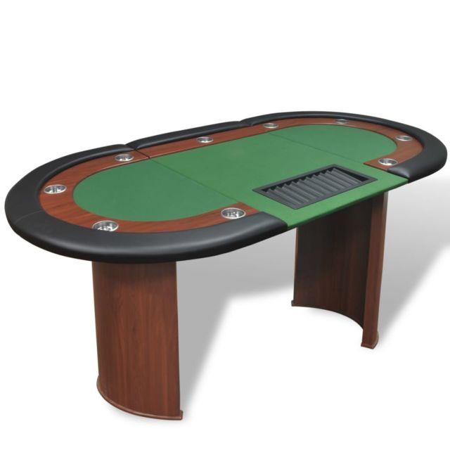 Vidaxl Table de poker pour 10 joueurs avec espace de croupier Vert Vert