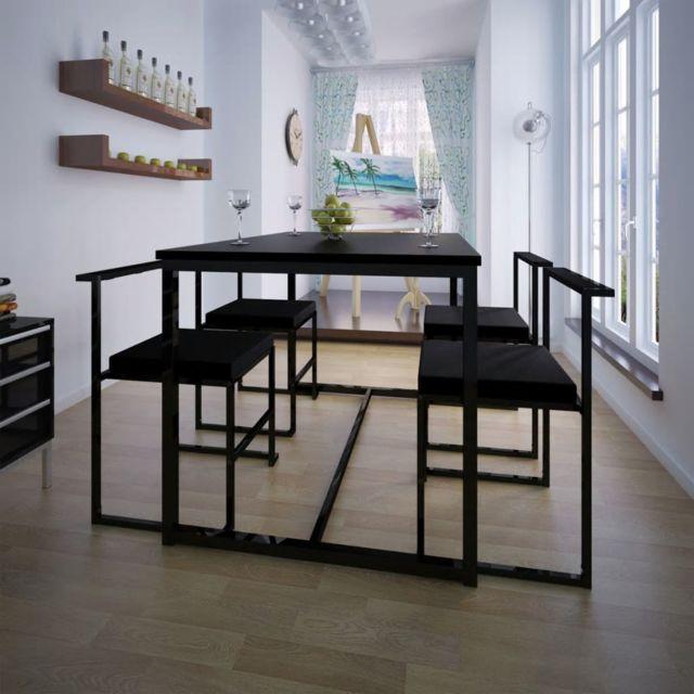Vidaxl Ensemble de Table et Chaises de Salle à Manger Cuisine 5 Pièces Noir