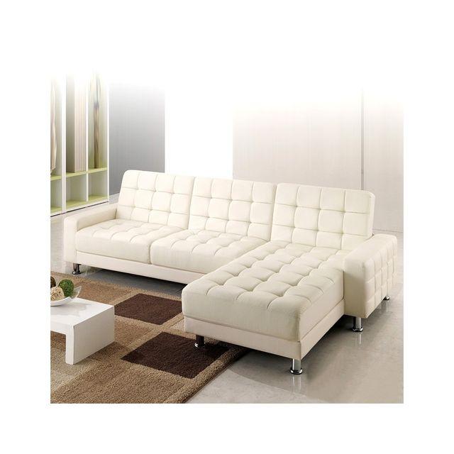 Rocambolesk Canapé calypso : canapé d'angle 3 places convertible lit blanc