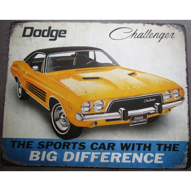 Universel Plaque dodge challenger jaune muscle car tole pub garage