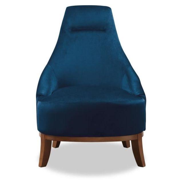 FAUTEUIL JOSEPH Fauteuil pieds bois Velours bleu L 64 x P 71 x H 93 cm