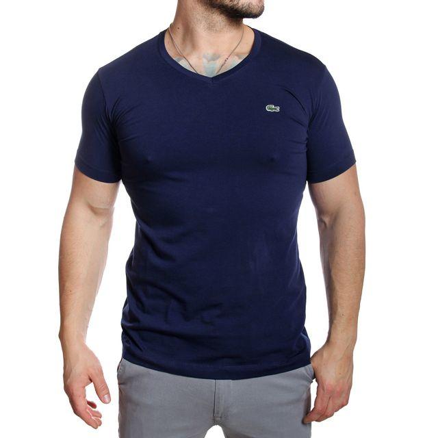 b00e45e14f6 Lacoste - T-shirt homme Th2683 col V manches courtes bleu marine - pas cher  Achat   Vente Tee shirt homme - RueDuCommerce