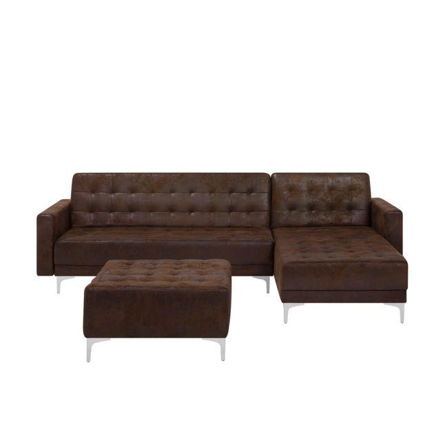 BELIANI Canapé d'angle en simili cuir avec ottoman côté gauche brun ABERDEEN