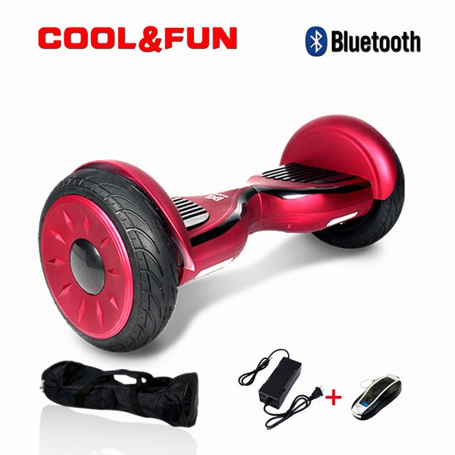 COOL AND FUN - COOL&FUN Hoverboard Bluetooth Tout terrain, gyropode 10 pouces modèle HORSEBOARD rouge bordeaux
