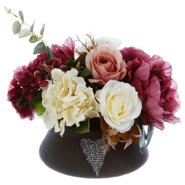 paris prix composition florale en pot 23cm violet pas cher achat vente petite d co d. Black Bedroom Furniture Sets. Home Design Ideas
