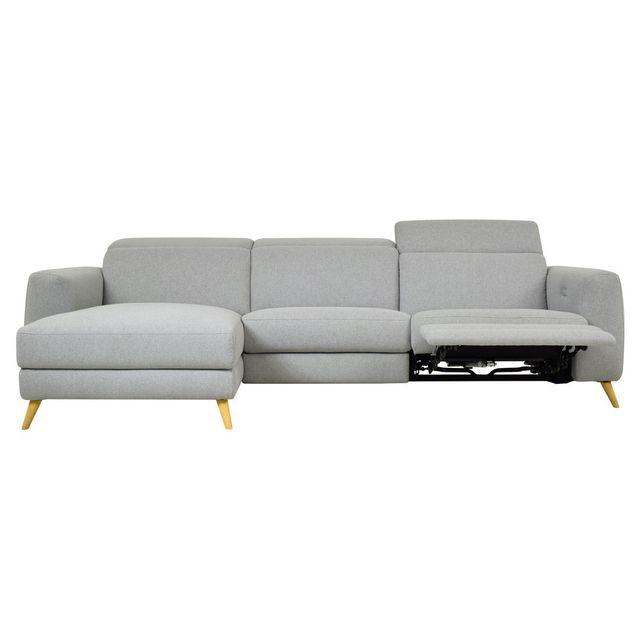 Momentime Canapé d'angle scandinave relax électrique Kekka - Gris - Gauche