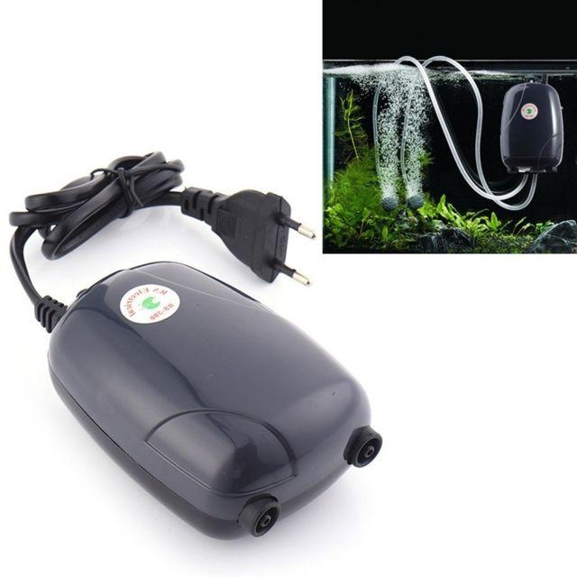 Wewoo Rs-390 220V 5W Double sorties débit réglable Silencieux Aquarium Pompe À Air Fish Tank Oxygène Air Pump