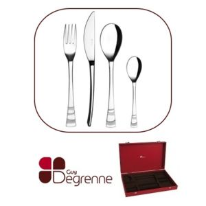 Guy degrenne m nag re 50 pi ces avec crin rouge for Guy degrenne solstice miroir