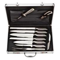 Le Couteau Du Chef - Couteaux de cuisine du chef + fusil + fourchette + ciseaux - 9pc - valise alu