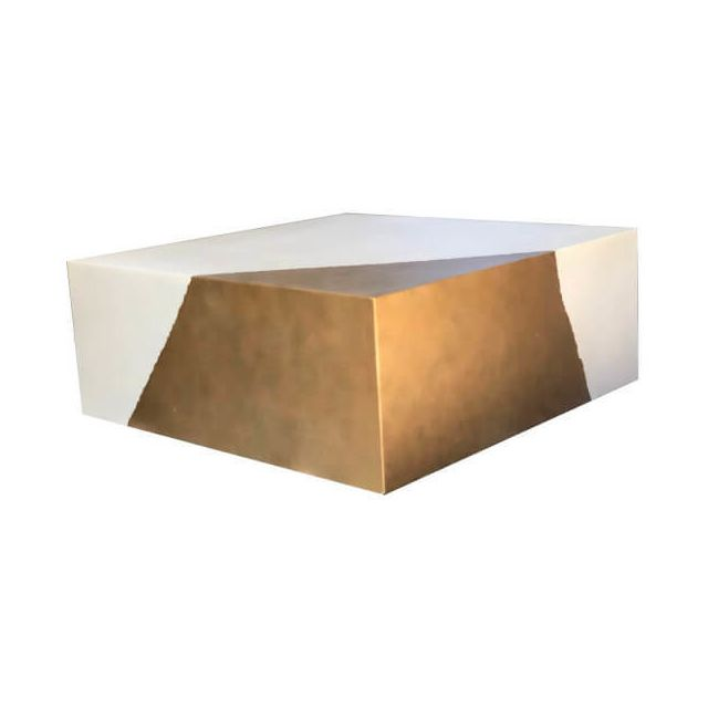 Mathi Design Cube Or - Table basse béton blanc
