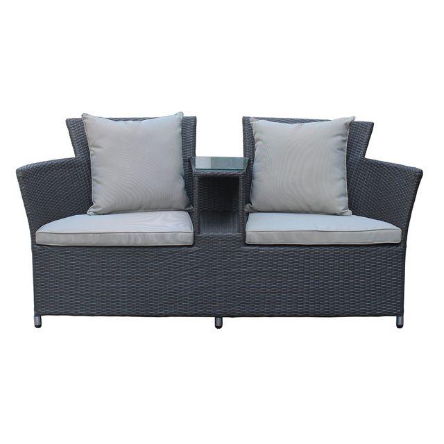 rotin design canap de jardin two en rsine gris noir anthracite pas cher achat vente ensembles canaps et fauteuils rueducommerce - Canape De Jardin