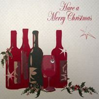 White Cotton Cards - Ont Une Carte À Vin Faits Main Avec Inscription Merry Christmas