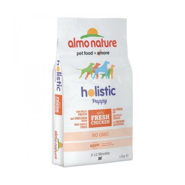 Almo Nature Croquettes Holistic pour chiot taille moyenne Poulet et riz Sac 12 kg