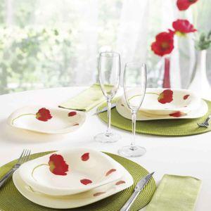 luminarc service de table rouge coquelicot 19 pi ces insouciance pas cher achat vente. Black Bedroom Furniture Sets. Home Design Ideas