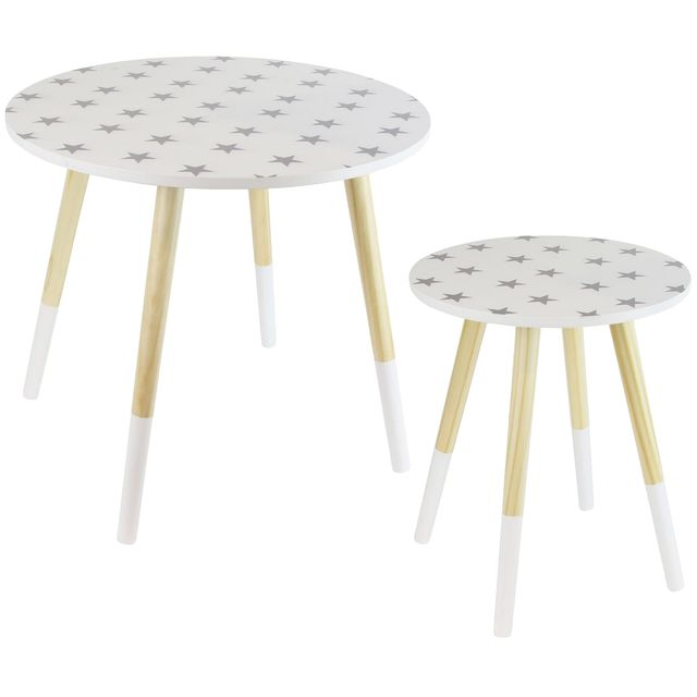 Promobo Ensemble Duo De Table Gigogne Ronde Blanc Decor Etoile Design Cosy Scandinave