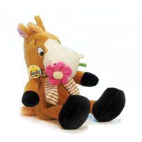 No Name - Adorable peluche de charme - Cheval ou poney assis avec sa fleur