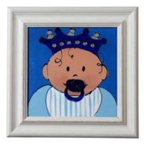 Nicolientje - Tableau Peint À La Main Bleu 43,5 X 43,5 Cm Avec Cadre En Bois