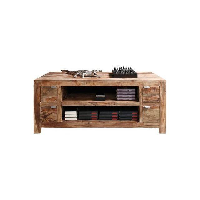 Inside 75 Meuble Tv Wood 4 Tiroirs En Bois Massif Pas Cher