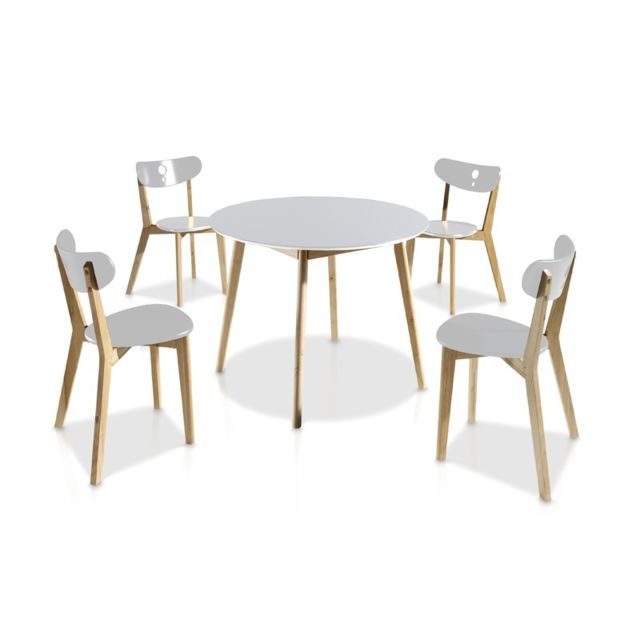 Tousmesmeubles Ensemble Table & Chaises Blanc - Daia - Diamètre 100 x H 73