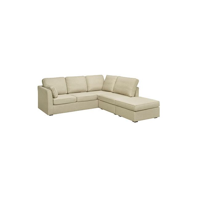 Canapé angle convertible 6cm en polyester beige - Charles
