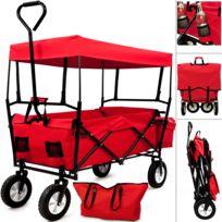 Rocambolesk - Superbe Chariot remorque transport main jardin pliable avec toit amovible Neuf