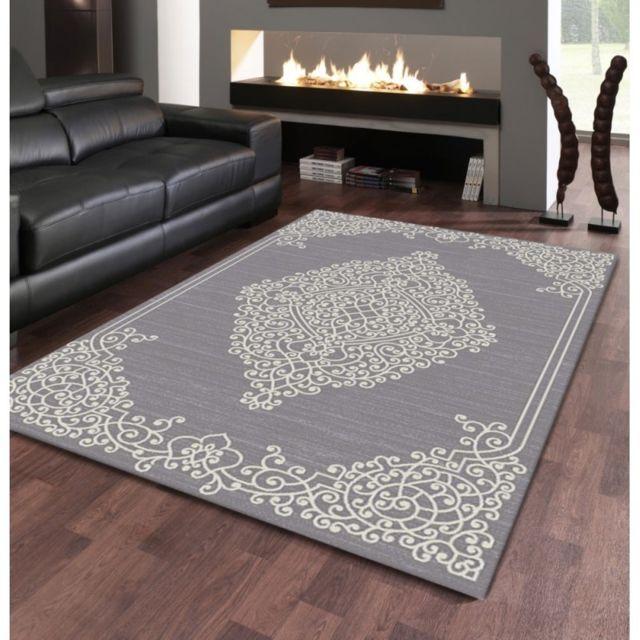 Tapis de salon design oriental - New Florida - Gris - 80 X 150 cm