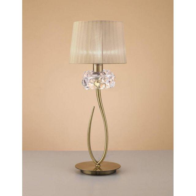 Luminaire Center Lampe de Table Loewe 1 Ampoule E27 Big, laiton antique avec Abat jour bronze