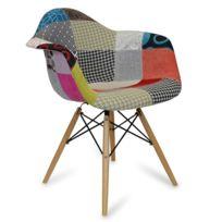 Novara Mobili - Chaise Arms Wood Style Patchwork Classic avec pieds en bois de hêtre