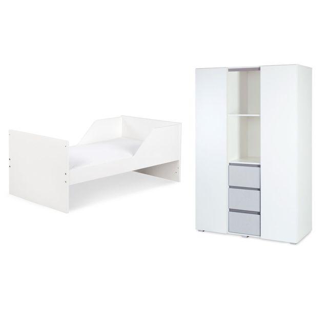 Klups Lit évolutif 70x140 et armoire 3 portes LittleSky by Dalia - Blanc