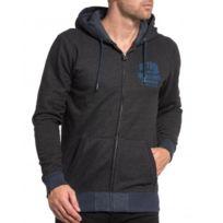 Petrol Industries - Sweat-shirt gris uni pour homme zippé et à capuche