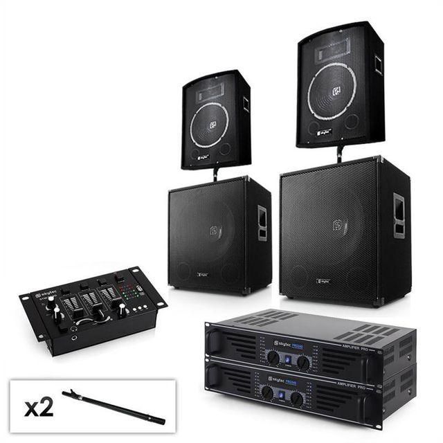 ELECTRONIC STAR Set PA 2 x ampli, 2 x subwoofer, 2 x enceinte, mixer, câbles