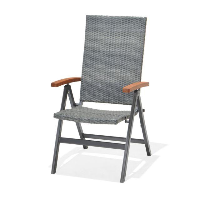 CHILLVERT Chaise de jardin Dominica en bois d'eucalyptus FSC, en rotin synthétique et aluminium