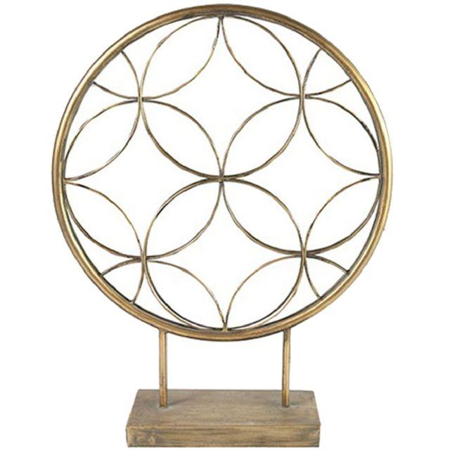 Decoshop Miroir rond à poser avec rosace - hauteur 57 cm