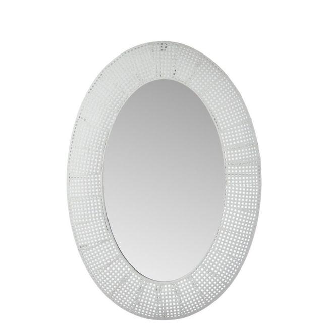 Tousmesmeubles Miroir ovale grille Métal blanc - Nebob