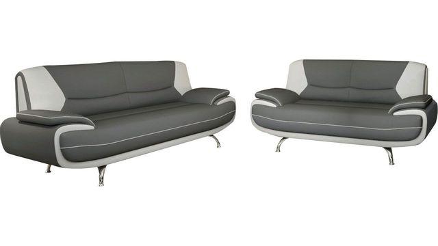 sélection premium 13eb2 388a0 Ensemble de canapé 3+2 en simili cuir gris et blanc design Nino