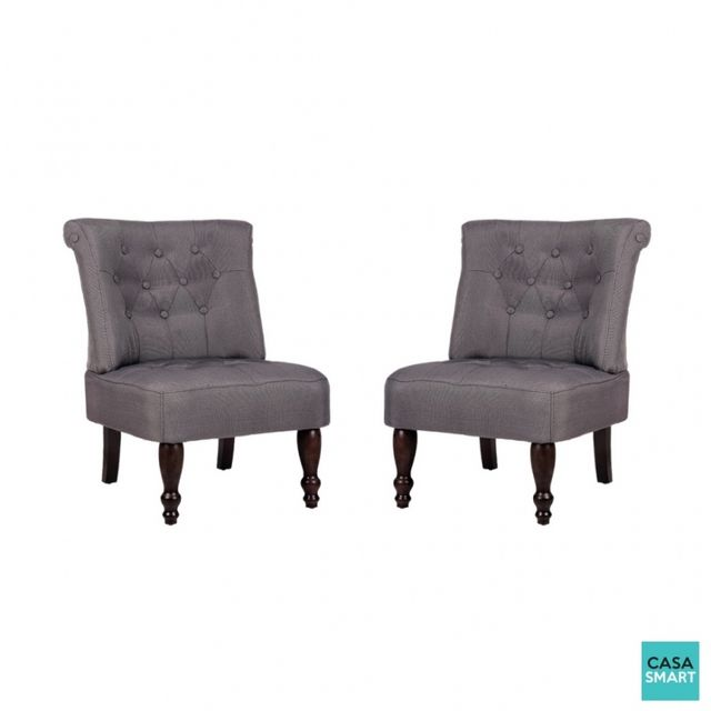 Casasmart Lot de 2 fauteuils de salon gris