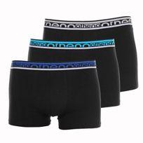 Athéna - Lot de 3 boxers Athena en coton stretch Noir, ceintures estampillées en bleu, turquoise et gris