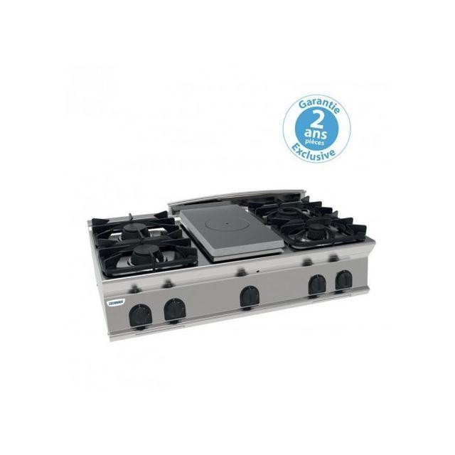 Materiel Chr Pro Plaque de cuisson - top 4 feux vifs gaz et 1/2 plaque coup de feu - gamme 700 - module 400 - Tecnoinox - 700