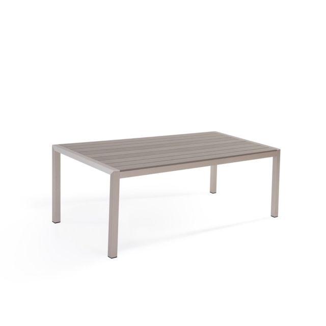 BELIANI Table de jardin en aluminium et bois synthétique gris 180 x 90 cm VERNIO